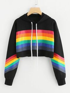 Shop Rainbow Striped Print Crop Hoodie at ROMWE, discover more fashion styles online. Teen Fashion Outfits, Cute Fashion, Daily Fashion, Girl Outfits, Fast Fashion, Fashion Styles, Crop Top Hoodie, Cropped Hoodie, Pride Outfit