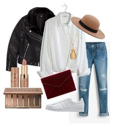 """Day Outfit 1"" by emma-495 on Polyvore featuring Topshop, White House Black Market, Madewell, Rebecca Minkoff, adidas Originals, Rachel Jackson, tarte, Urban Decay and Forever 21"