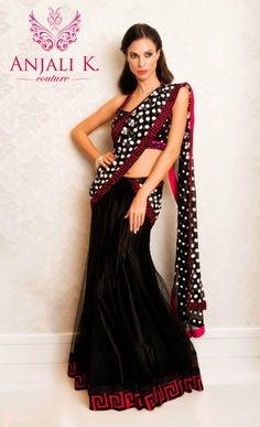 Black net lengha saree with pink greek key patterned border