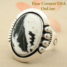 Four Corners USA Online Native American Artisan Jewelry - Men's White Buffalo Turquoise Ring Size 13 Native American Indian Silver Jewelry NAR-1480, $254.00 (http://stores.fourcornersusaonline.com/mens-white-buffalo-turquoise-ring-size-13-native-american-indian-silver-jewelry-nar-1480/)