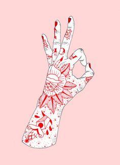 New A OK Framed Art Print by alishaann Art Hoe Aesthetic, Nail Logo, Trippy Wallpaper, Book Tattoo, Black And White Drawing, Hand Illustration, Whimsical Art, Art World, Framed Art Prints
