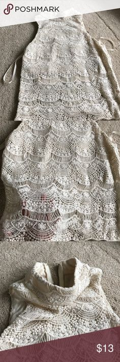 Cowl neck lace croptop Super cute and comfy, brand new without tags no stains!!! Still has the hangers tag, cropped slip underneath and zipped on the back Urban Outfitters Tops Tank Tops