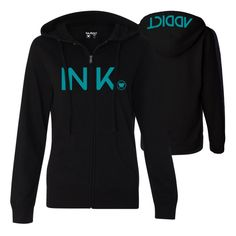 Tattoo Ink Womens Black/Turquoise Zip Hoodie - Hoodies