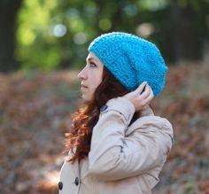 Crochet blue slouchy beanie Handmade baggy Hat unisex adult gift idea fashion Aqua Blue Spring Autumn accessory turquoise dread lock beanie by ThingsFromShela on Etsy