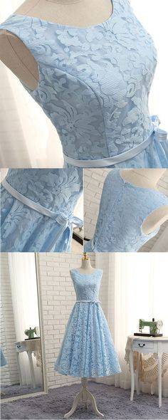 of girl | High quality blue a line lace tea length prom dress, homecoming dresses | Online Store Powered by Storenvy