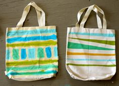 Paint tote bag using masking tape stencil and acrylic paint- was very fun, but be sure to use good quality tape and not too much paint or you won't get clean lines.
