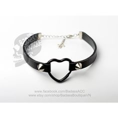 Black faux vegan leatherblack heart ring straps 6 mm (0.2 in) stainless steel spikes studs choker collar - sexy rock punk lolita cosplay