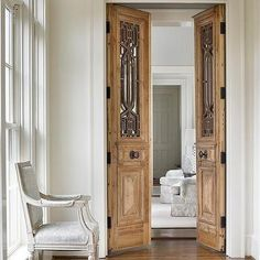Hallway with Carved Bi Fold Doors