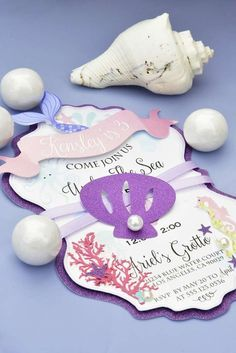 Party invitations at a Little Mermaid birthday party! See more party planning ideas at CatchMyParty.com!