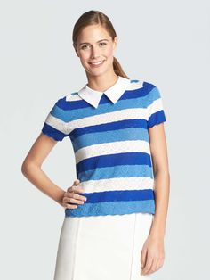 44e5973645 Draper James - Stripe Lace Sweater - Bluebell - S Southern Outfits