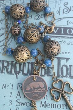 Coin necklace irish coin necklace old irish coin halfpenny Gothic Rings, Gothic Jewelry, Antique Jewelry, Vintage Jewelry, Handmade Jewelry, Royal Jewelry, Jewellery, Pig Necklace, Medieval Jewelry