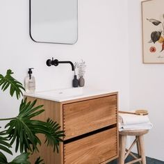 Clean and simple with just a bit of natural warmth from the wood and our Abricot print 🍑 Such a lively bathroom styling in this picture by… Living Room, Room, Interior, Bathroom Styling, House Interior, Living Room Wall, Bathroom, Room Inspo, Bathroom Inspiration