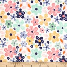 Riley Blake A Beautiful Thing Flannel Main Pink from @fabricdotcom  Designed by Zoe Pearn for Riley Blake, this single-napped (brushed on face side only) flannel is perfect for quilting, apparel and home decor accents.  Colors include white, pink, orange, mint green and denim blue.