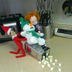E-w-w! The worst elf on the shelf ever, get back to the shelf! You're graring on my nerves.