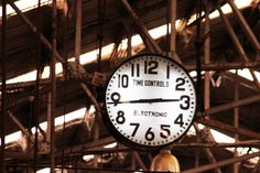 Old antique clock railway station