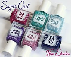 NEW Sally Hansen Sugar Coat Shades: Pink Sprinkle (raspberry texture with pink glitter and golden/red flecks), Spare-A-Mint?(teal creme texture),  Royal Icing (extremely sheer, sky blue with pink shimmer), Laughie Taffy(midnight blue creme texture), Treat-Heart (glittery, fairy princess pink metallic texture) & Gummy Grape(grape creme texture) | All Lacquered Up
