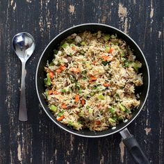 Garlic Fried Rice with Celery, Mushrooms, Broccoli, Bell Peppers, Carrots and Peas. Glutenfree Vegan Recipe
