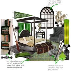 Slytherin dorm room by queenaengland on Polyvore featuring interior, interiors, interior design, home, home decor, interior decorating, Bloomingdale's, Uttermost, Ari D. Norman and Flea Market Rx