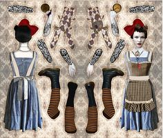 Alice in Steamland Doll Pattern fabric by curlycue on Spoonflower - custom fabric
