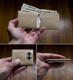would be cool with comic books! kraft paper wallet tutorial - brilliant :)