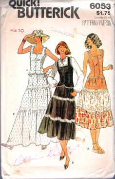 """Vintage 1980's Butterick 6053 Top & Three Tiered Skirt Sewing Pattern Size 10 Bust 32 1/2"""" by Recycledelic1 on Etsy"""