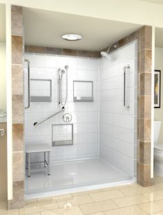 wheelchair accessible shower with bench - hand controls and shower head on different walls
