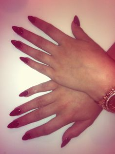 Red Almond nails. Classic.