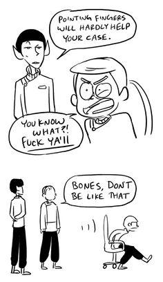 "Leonard ""Bones"" McCoy, Jim Kirk, Spock"