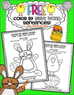 FREE Spring or Easter Color by Sight Word Sentences!