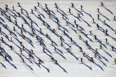 Cross-country skiers raced over frozen Lake Silsersee during the 46th Engadin Ski Marathon near the village of Maloja, near the Swiss mountain resort of St. Moritz. More than 13,000 skiers participated in the race. Arnd Wiegmann/Reuters via WSJ Photos
