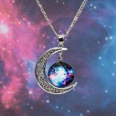 Galaxy Crescent Moon Pendant Necklace