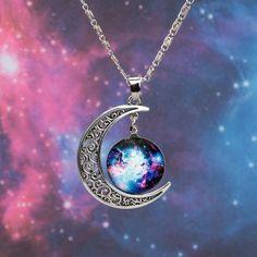Galaxy Crescent Moon Pendant Necklace
