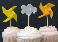 Clouds/rain and pinwheels | You Are My Sunshine Cupcake Toppers by InvitationToMars on Etsy, $30.00