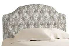 Looking for a great upholstered headboard and this ikat version might be perfect with the new charcoal walls!