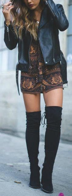 0cdb8312fb8e Moto jacket + OTK boot. Thigh High Boots Outfit