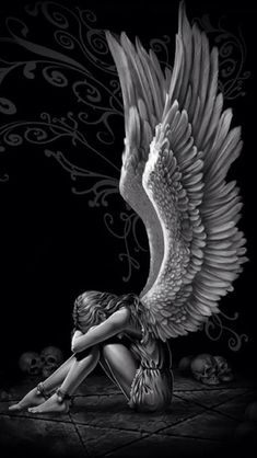 Gothic angel tattoo new Ideas Dark Angels, Angels And Demons, Fallen Angel Art, Gothic Angel, Gothic Art, Gothic Home, Gothic Poster, Angel Wings Wall Art, Angel With Wings