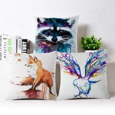 Nordic ink animal creative oil painting Fox deer pigeons Civet cats sofa Car Seat Decorative  Pillow Case hot Cushion Cover gift #Affiliate