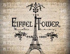 Antique Paris French Eiffel Tower Floral Handwriting Ornate Illustration Digital…