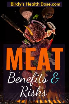Whether it is white or red, whether it comes from beef, pig, lamb, chicken, turkey, the meat is the main source of protein for the body, providing all the essential amino acids. Benefits: participates in the construction and maintenance of all tissues and organs through the amino acid content.  Risks: in the meat, there are only saturated fats! Saturated fats in meat increase blood pressure and the risk of atherosclerosis.