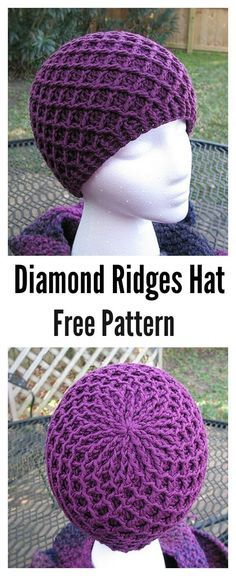 Crochet Beanie Patterns Waffle Stitch Crochet Diamond Ridges Hat Free Pattern by michael - The Waffle Stitch Free Crochet Patterns are great to have in your arsenal of different stitches. It has a beautiful texture and is great for blanket etc. Beau Crochet, Bonnet Crochet, Stitch Crochet, Crochet Beanie, Knit Or Crochet, Crochet Scarves, Crochet Crafts, Crochet Clothes, Crochet Projects