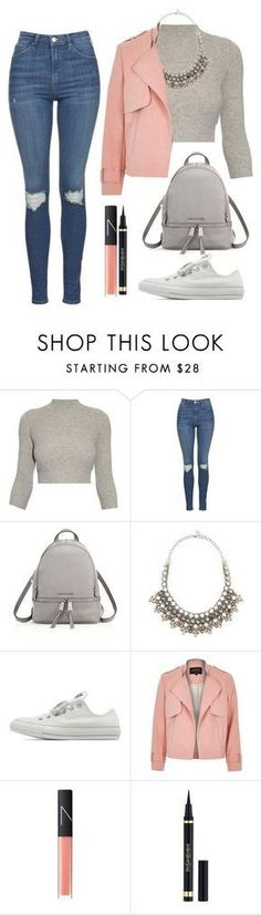 Sans titre #612 by maevaxstyle ❤ liked on Polyvore featuring Alexander McQueen, Topshop, MICHAEL Michael Kors, Valentino, Converse, River Island, NARS Cosmetics and Yves Saint Laurent