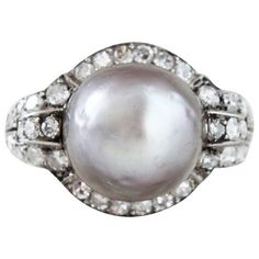 Art Deco Grey Natural Pearl and Diamond Ring | From a unique collection of vintage cluster rings at http://www.1stdibs.com/jewelry/rings/cluster-rings/