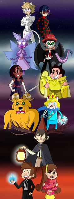 Bad End Friends by MiniJen Akumatized cartoon heroes Disney Pixar, Disney And Dreamworks, Steven Universe, Bad Friends, Nickelodeon, Cartoon Crossovers, Fandom Crossover, Kawaii, Star Butterfly