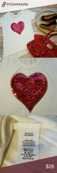 New Sequined Heart Shirt Valentines Day! NWOT Ivory top Sweet Claire V Neck and very soft  Bundle pricing available  Items ship within 1 business day  No trades  Lowball offers not accepted Sweet Claire Tops Tees - Short Sleeve