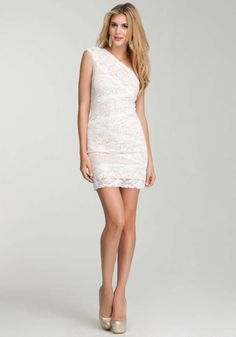 Buy Bebe One Shoulder Mixed Lace Dress – White for $89.99 or Less - Check Sale Price Now!