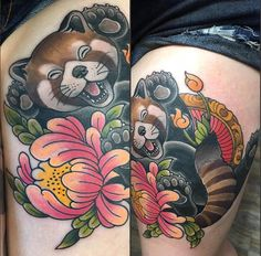 Red panda. Done by Carlo @ Sinister Skin. Port Moody BC Japanese tattoo sleeve btctrader1.weebly.com