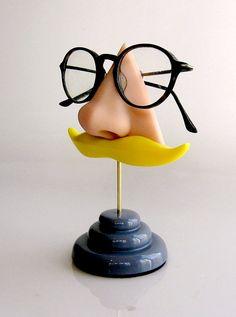 Nose Eyeglass Stand Blond Moustache eyewear display by ArtAkimbo, $40.00