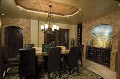 Love inlayed brick, dining set and built-ins. Ok, I like the mural idea, too.
