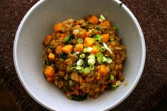 curried lentils with sweet potatoes.  Delicious! (and we even forgot some ingredients)   smittenkitchen
