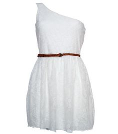 Cream One Shoulder Lace Dress  £15.00